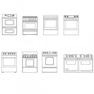 Dwg Cad Objekte: Küchenherde Ansicht