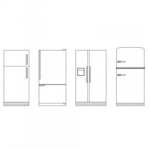 Dwg Cad Objekte: Kühlschränke Ansicht