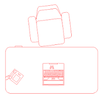 Dwg Cad Objekte: Büro Schreibtisch  (3)