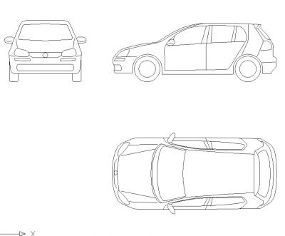 Dwg Cad Objekte: Volkswagen Golf