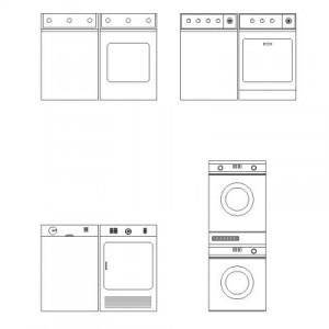 Dwg Cad Objekte: Waschmaschine – Ansicht