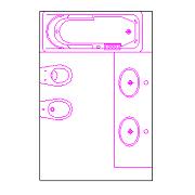 Dwg Cad Objekte: komplettes Badezimmer (2)