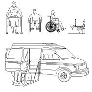 Dwg Cad Objekte: Behinderte, Rollstuhlfahrer, Ambulanz