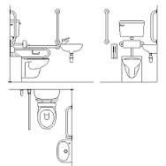 Dwg Cad Objekte: Komplett behindertengerechtes Badezimmer