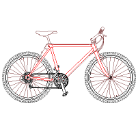 Dwg Cad Objekte: Mountain Bike, Fahrrad Ansicht