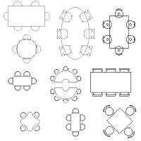 Dwg Cad Objekte: Tische, verschiedene Formen