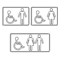 Dwg Cad Objekte: Toilette Zeichen