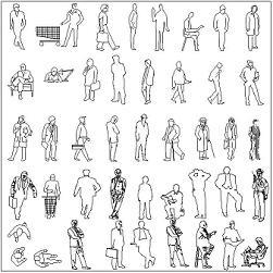 Dwg Cad Objekte: Menschen, Draufsicht und Ansicht